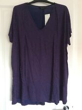 Dorothy Perkins Curve Size 22 Navy Spot Pleat Front Top With Short Sleeves