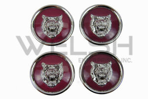 Jaguar Wheel Badge Set - Wheel Motif - 1988-2012 - Ruby/Silver - MNA6249EA - K
