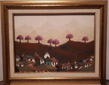 GONZALO ENDARA CROW (1936-96) ECUADOR ORIGINAL OIL PAINTING SIGNED PURPLE TREES