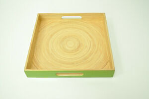 Handmade Decorative Bamboo Tray, Solid Wood, Square, Lacquered Brown-Green
