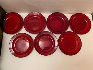 "Arcoroc CLASSIQUE RUBY Red Rim Set of 7 Salad Plates  7.5"" Crystal Disc'd"