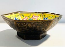 19th/20th Century Chinese Yellow Porcelain , Bronze & Enameled Bowl Beautiful