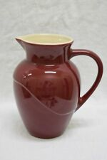 "LE CREUSET STONEWARE PITCHER ~ BURGUNDY ~ 8 3/4"" TALL ~ CREAM COLOR INSIDE"