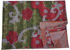 Indian Vintage Kantha Quilt Reversible Throw Cotton Blanket Bedspread Gudari Art