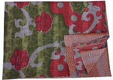 Indian Vintage Kantha Quilt Reversible Cotton Kantha Blanket Bedspread Gudari