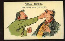 Political sartire c1903 Free Trade versus Protection comic PPC Fiscal Inquiry