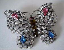 Superb antique Edwardian Czech butterfly brooch, in base metal set with pastes
