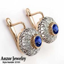 Russian Style Earrings, G- VS2 Diamond & Sapphire Earrings #E1151