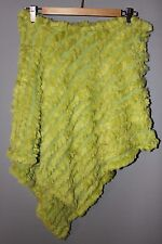 WILSONS LEATHER Maxima Womens Lime Green Rabbit Fur Striped Poncho One Size