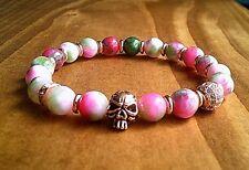 Ladies Pink Gothic Skull Gemstone Bracelet Persian Jasper Stone Bracelets UK