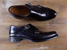 $2050 KITON black double monk leather shoes authentic - Size 8 US / 7 UK / 41 EU