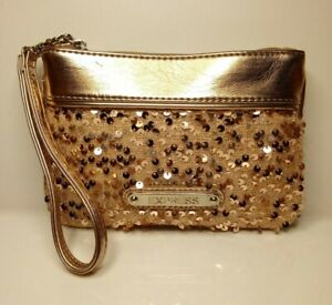 EXPRESS Wristlet Clutch Makeup Bag Pouch Rose Gold Sequin Vegan Leather *NWOT*