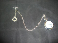 Single albert silver plated pocket watch chain fob t bar cloc