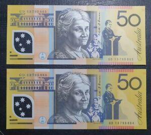 2013 Australian $50 banknote GD 64-65 pair