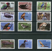 Tonga 2014 MNH Birds Definitives Part 1 OFFICIAL Overprint 12v Set OVPT Owls