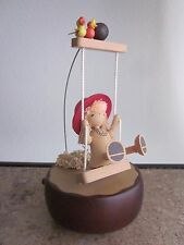 Vintage Schmid Music Box - Wooden - Girl on a Swing - It's A Small World - Japan