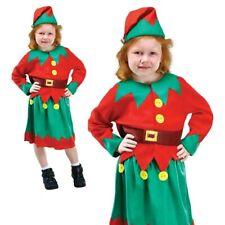 Santas Helper Costume Christmas Elf Kids Girls Child Xmas Fancy Dress Outfit