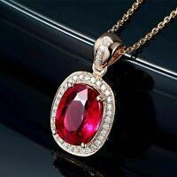 Luxus Halskette Rose Gold Rubin Edelstein Anhänger Damen Schmuck  925 Silber