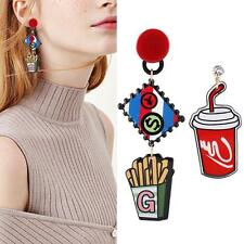 1pair Acrylic French Fries Asymmetric Dangle Colorful Crystal Pretty Earrings KZ