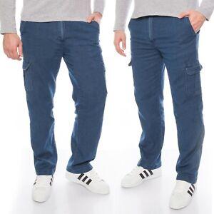 Herren Cargo-Hose Jeans-Hose Freizeit-Hose mit Dehnbund aus Baumwolle M-3XL
