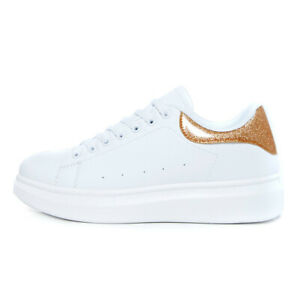 New Womens Oversized Look Sneakers Trainers White Glitter Ladies Platform Sole