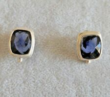 Sarda Sterling Silver Earrings with Faceted Blue Sapphire Quartz