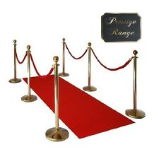 6xPolished Brass Queue Barrier 4 Red Ropes & Brass Poles Heavy Duty Bases VIP
