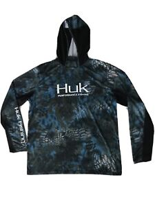 HUK Performance Fishing Graphic Blue & Black Hooded Fishing Shirt Men's Size L