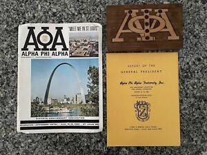 Rare 1960's ALPHA PHI ALPHA Convention Book & Report w/ Wood Plaque