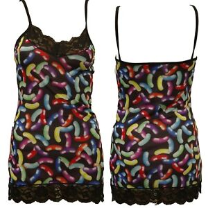NEON JELLY BEANS STRAPPY TOP LACE HEM GOTH EMO ALTERNATIVE SIZE 14-16