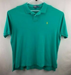 Men's Polo by Ralph Lauren Green With Yellow Logo Size 2XL
