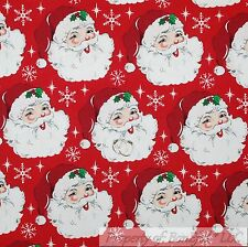BonEful FABRIC FQ Cotton Quilt VTG Red White Old Xmas Santa Claus Face Snowflake