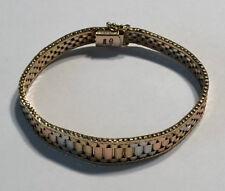 14kt Solid Gold Tri Color Bracelet, 19.5 gms, 7 inches in length