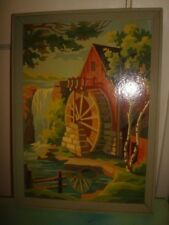VINTAGE  PAINT BY NUMBER GRISTMILL WOOD FRAME PAINTING 9X13.5