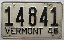 Vermont 1946 License Plate NICE QUALITY # 14841