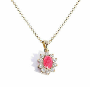 Ah! Jewellery® 1.45ct Genuine Simulated Diamonds Ruby Necklace, Stamped GL!