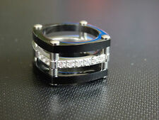 black and  silver  box ring multi layered with cz embedded stones U.S 5 1/2