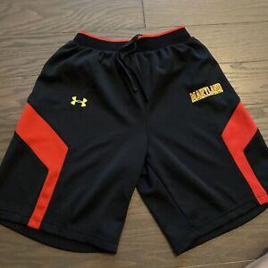 Maryland Terrapins Under Armour Black Basketball Shorts Pants Loose Fit Medium M