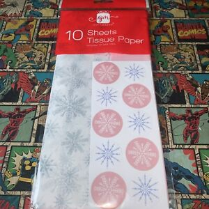 Christmas Snowflake Tissue Paper & Sticker Seals - 10 Sheets & 10 Stickers. Xmas