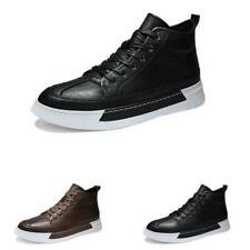 39-44 Mens Faux Leather High Top Boards Sneakers Shoes Outdoor Walking Sports L