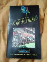 1970s/1980s CAFE DE PARIS Bar Restaurant (Original Menu) Rome, Italy