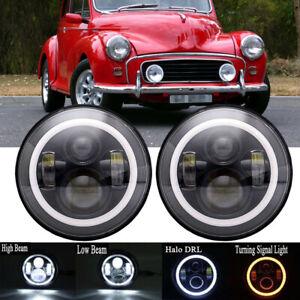 "For Austin Mini Cooper Classic Pair 7"" LED Headlight Halo Ring DRL Turn Signals"