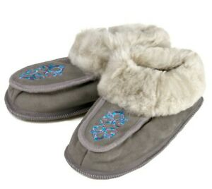 Men's Gray Fluffy Bootie Slippers 100% Sheep Wool Suede Leather Warm and Cozy