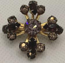 Pretty Vintage Green Purple Amethyst Stone Star Brooch Excellent Quality
