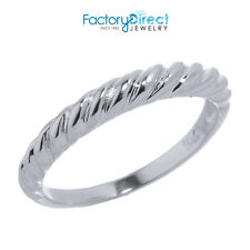 10k White Gold Twisted Rope Knuckle Ring Size 1, 2, 3, 4, 5, 6, 7, 8