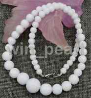 """Wholesale natural White Coral stone Round Gemstone Beads Necklace 18 """""""