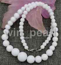 Wholesale natural White Coral stone Round Gemstone Beads Necklace 18 ""