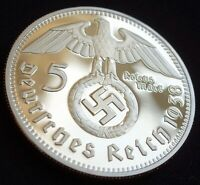 Collectable GERMAN WW2 5 REICHSMARK 1938 Gold Plated Coin