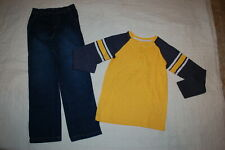 Boys Maize Yellow & Navy L/S Henley Shirt Casual Pull On Blue Jeans Size 8