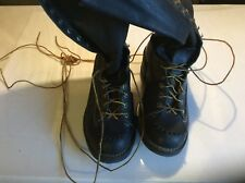 "Vintage WESCO Highliner 16"" Black Leather Tall Mens Boots Size 10.5 D"